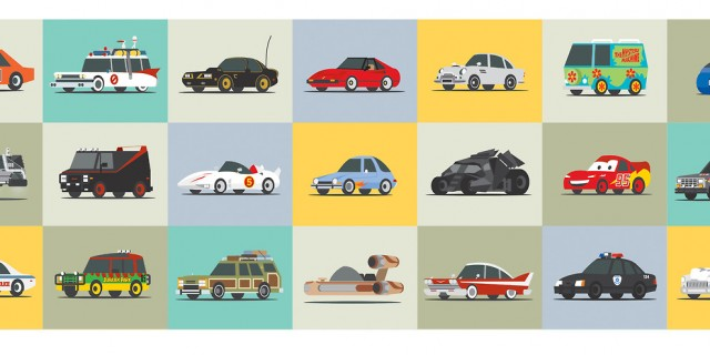 Illustrated movie cars